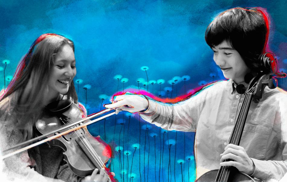 Violino e violoncello giocano insieme