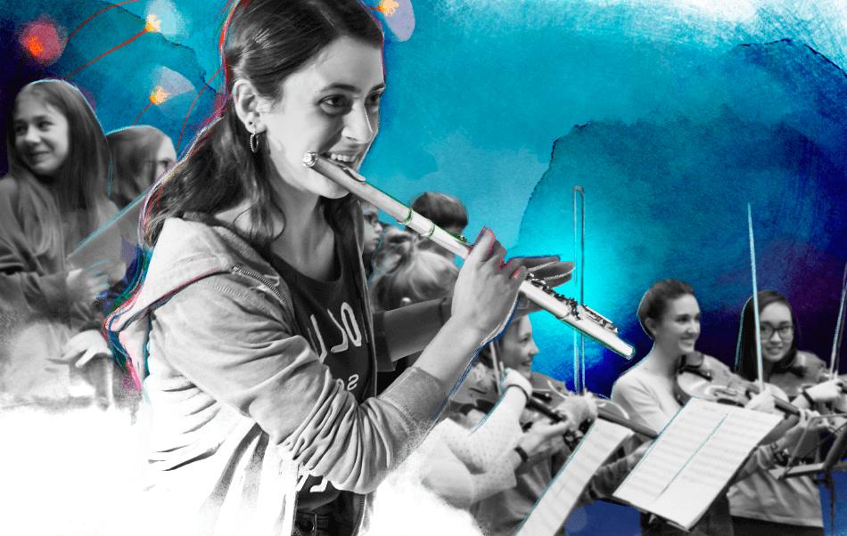 Flauto traverso e violini in concerto