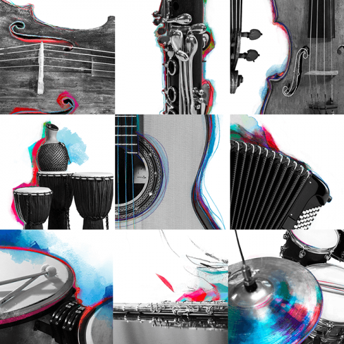 Scacchiera strumenti: violoncello, clarinetto, violino, percussioni etniche, chitarra, fisarmonica, timpani, flauto traverso, batteria